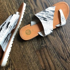 Painted leather sandal rarely worn Snakeskin look